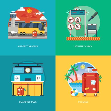 공항 환승, 보안 검사, 탑승 데스크, 수하물 서비스에 대한 평면 디자인 일러스트 레이 션 개념의 집합입니다. 항공 여행 및 관광. 웹 배너 및 홍보 자료