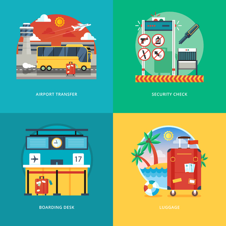 Set of flat design illustration concepts for airport transfer, security check, boarding desk, luggage service. Air traveling and tourism. Concepts for web banner and promotional material.