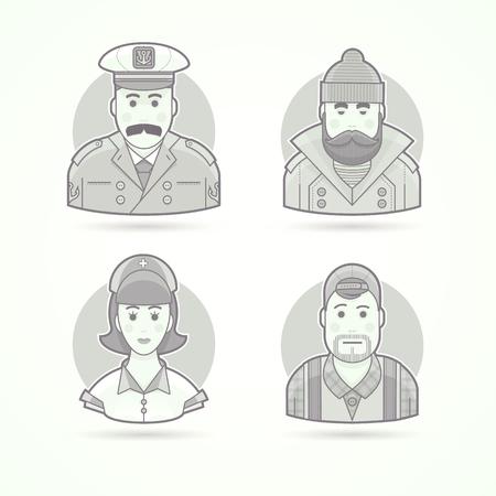 enfermera con cofia: capit�n del barco, pescador, enfermeras y del operador de v�deo iconos. Car�cter, avatar y persona ilustraciones. estilo esbozado en blanco y negro mate.