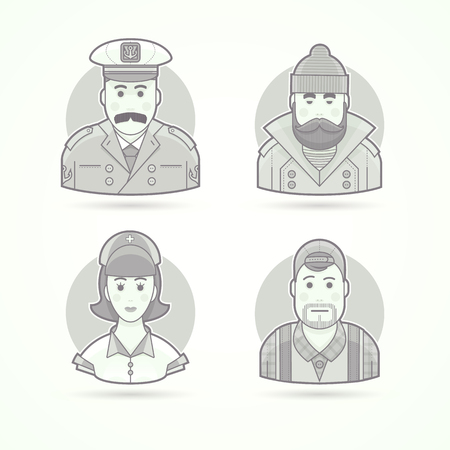ship captain: Ship captain, fisherman, nurse and video operator icons. Character, avatar and person illustrations. Flat black and white outlined style. Illustration