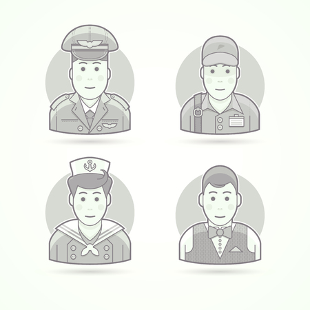 anchor man: Pilot, delivery man, shipboy, waiter icons. Character, avatar and person illustrations. Flat black and white outlined style. Illustration