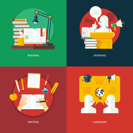 Conjunto de diseño plana ilustración conceptos de lectura, expresión oral, escritura y lenguaje lecciones. Educación y el conocimiento ideas. Elocuencia y el arte oratorio.