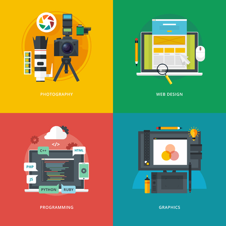 university campus: Set of flat design illustration concepts for photography, web design, programming, graphics.  Education and knowledge ideas. Informational technologies and digital arts.