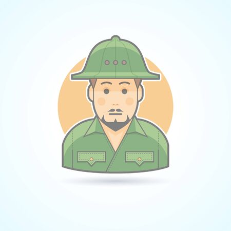 huntsman: African explorer icon. Avatar and person illustration. Flat colored outlined style. Illustration
