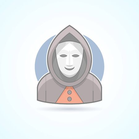 Anonym, stranger, maskman, mysterious man icon. Avatar and person illustration. Flat colored outlined style. Illustration