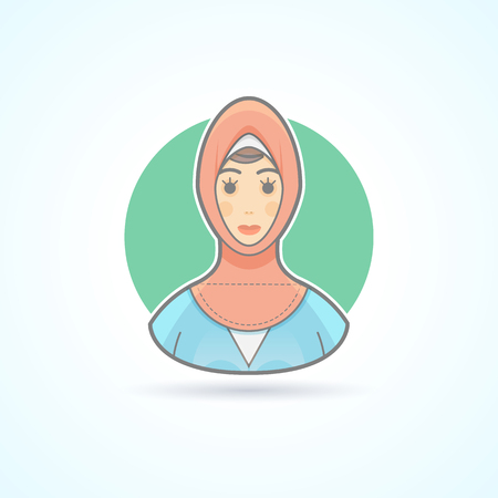 woman girl: Arabian woman in traditional national cloth, muslim icon. Avatar and person illustration. Flat colored outlined style.