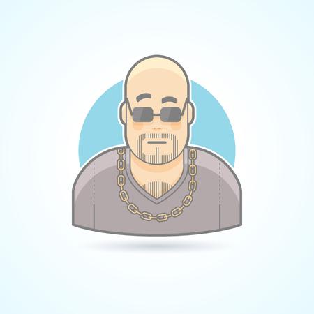 agent de s�curit�: Club videur de nuit, chef de la s�curit�, garde du corps ic�ne. Avatar et personne illustration. Flat color�e de style d�crit.