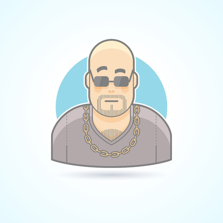 security icon: Night club bouncer, security chief, bodyguard icon. Avatar and person illustration. Flat colored outlined style. Illustration