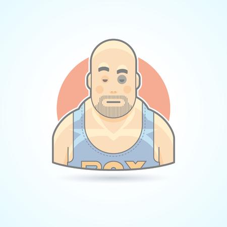 boxeador: Boxeador, combatiente deporte, hombre con una contusión en icono de la cara. Avatar y persona de ilustración. Piso estilo esbozado colores.
