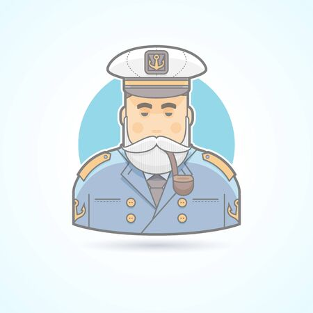 ship captain: Sailor, ship captain, flag officer, sea dog, man in uniform with smoking pipe icon. Avatar and person illustration. Flat colored outlined style. Illustration