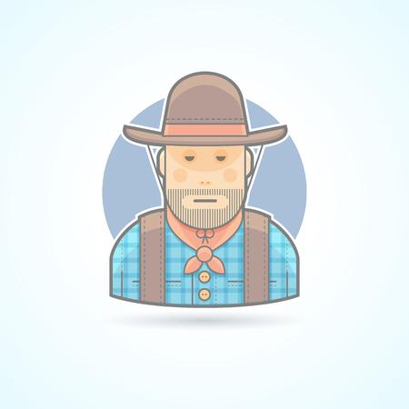 Cowboy in een hoed en jas, een Amerikaanse dier helder icoon. Avatar en de persoon illustratie. Flat gekleurde geschetste stijl.
