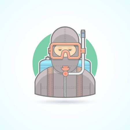 aqualung: Diver, scuba diving man with aqualung icon. Avatar and person illustration. Flat colored outlined style. Illustration
