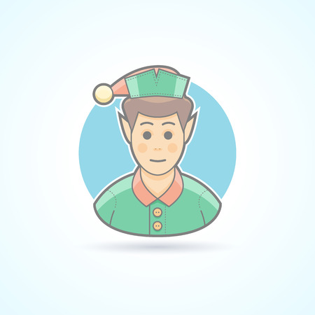 human head faces: Fairy elf, Santas assistant, minion icon. Avatar and person illustration. Flat colored outlined style.