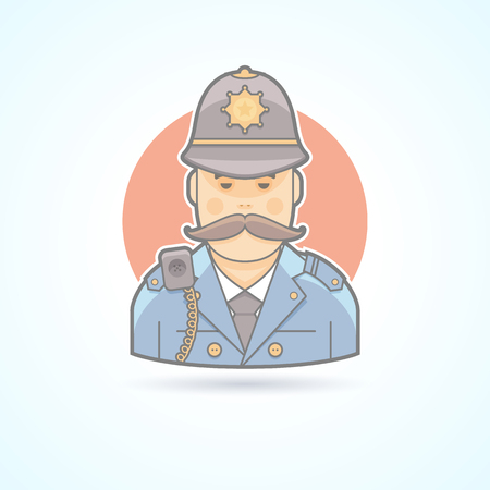 custodian: English policeman, british cop icon. Avatar and person illustration. Flat colored outlined style.
