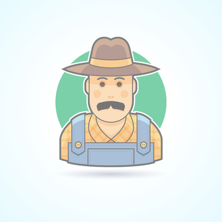 redneck: Farmer in an overalls and a hat,  village man icon. Avatar and person illustration. Flat colored outlined style.