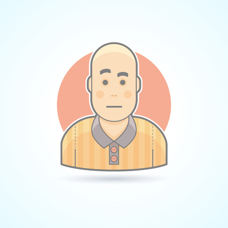 football referee: Soccer game judge, football referee icon. Avatar and person illustration. Flat colored outlined style. Illustration