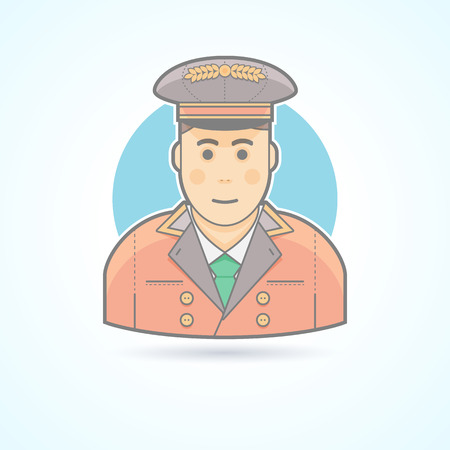 politeness: Hotel porter man, doorman service guy icon. Avatar and person illustration. Flat colored outlined style.