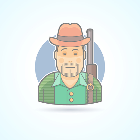 huntsman: Huntsman with a gun, hunting man icon. Avatar and person illustration. Flat colored outlined style. Illustration