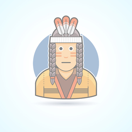 red indian: Icon of a Red Indian man an traditional cloth with feather headdress. Avatar and person illustration. Flat colored outlined style.