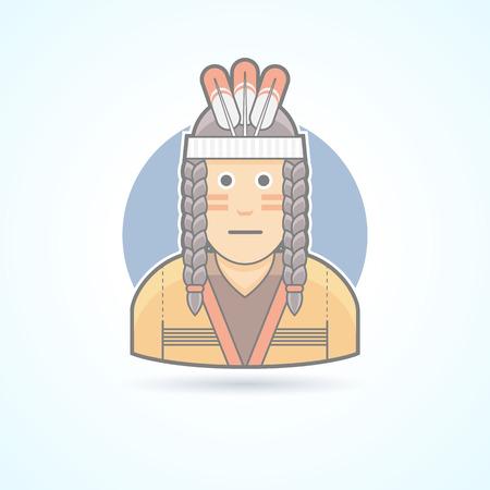 Icono de un hombre de piel roja con una tela tradicional tocado de plumas. Avatar y persona de ilustración. Piso estilo esbozado colores.