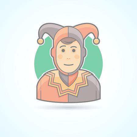 payasos caricatura: buf�n de la corte, arlequ�n, tonto, icono de payaso. Avatar y persona de ilustraci�n. Piso estilo esbozado colores.