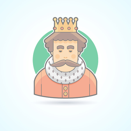 royal person: King in a crown, royal person icon. Avatar and person illustration. Flat colored outlined style.