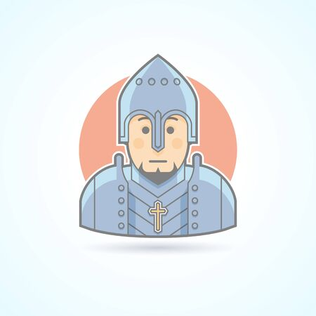 middle age: Knight in armor, middle age warrior icon. Avatar and person illustration. Flat colored outlined style.