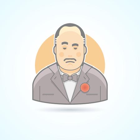 mafiosi italiens, chef criminel, Don Corleone icône. Avatar et personne illustration. Flat colorée de style décrit.