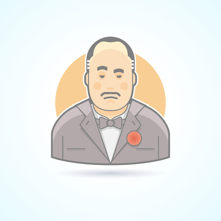 Italian mafiosi, criminal leader, Don Corleone icon. Avatar and person illustration. Flat colored outlined style.