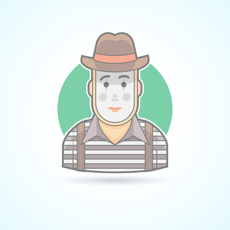 pantomime: Mime, pantomime performer, entertainer icon. Avatar and person illustration. Flat colored outlined style. Illustration