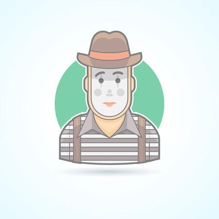 pantomima: Mimo, pantomima artista, icono animador. Avatar y persona de ilustraci�n. Piso estilo esbozado colores.