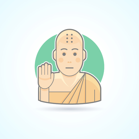 novice: Buddhism monk, Tibetan novice  icon. Avatar and person illustration. Flat colored outlined style.