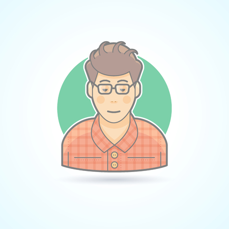 Nerd, student, hipster, smart guy icon. Avatar and person illustration. Flat colored outlined style. Illustration