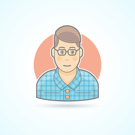 physicist: Nerd, student, hipster, smart guy icon. Avatar and person illustration. Flat colored outlined style. Illustration