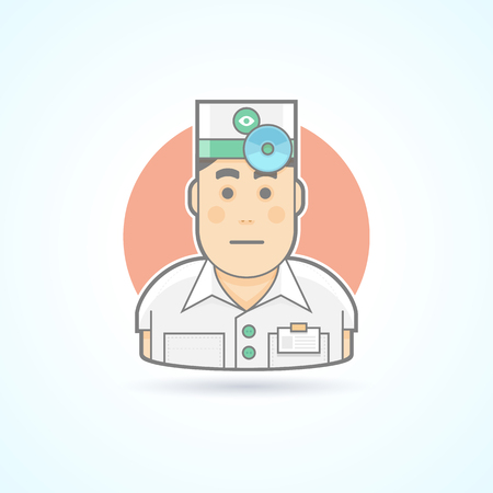 ophthalmologist: Ophthalmologist, otorhinolaryngologist, physician with head mirror  icon. Avatar and person illustration. Flat colored outlined style.