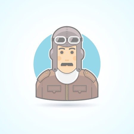 airman: Vintage pilot man, airman outfit example icon. Avatar and person illustration. Flat colored outlined style. Illustration