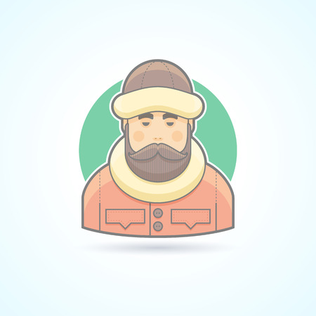 human head faces: Warm dressed man, polar explorer icon. Avatar and person illustration. Flat colored outlined style.