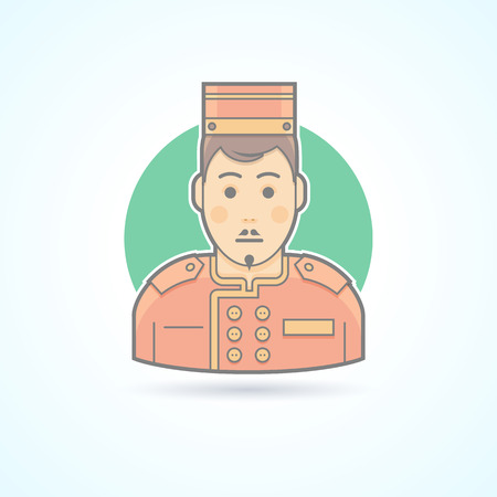 porter: Hotel porter man, doorman service guy icon. Avatar and person illustration. Flat colored outlined style.