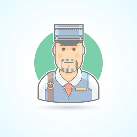 telegrama: Cartero, hombre icono cartero, entrega. Avatar y persona de ilustración. Piso estilo esbozado colores.