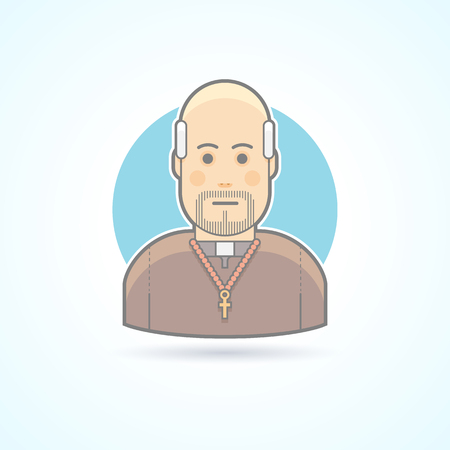 sotana: Catholic priest, clergyman in a cassock icon. Avatar and person illustration. Flat colored outlined style. Vectores