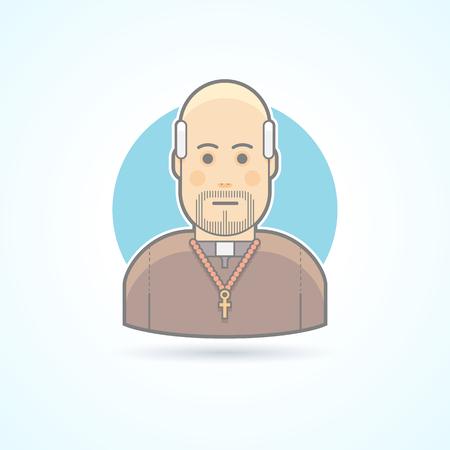 sotana: sacerdote católico, sacerdote en un icono de la sotana. Avatar y persona de ilustración. Piso estilo esbozado colores.