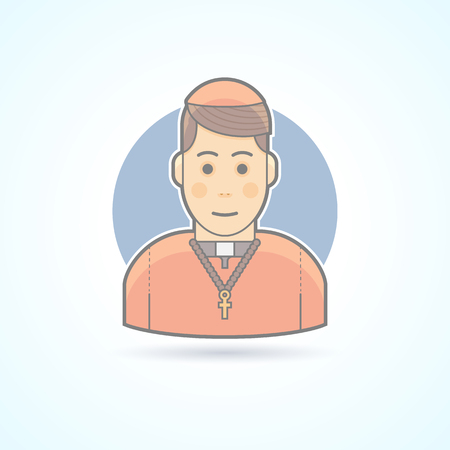 cassock: Catholic priest, clergyman in a cassock icon. Avatar and person illustration. Flat colored outlined style. Illustration