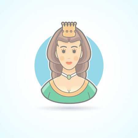 royal person: Queen, princess,  royal penson icon. Avatar and person illustration. Flat colored outlined style. Illustration