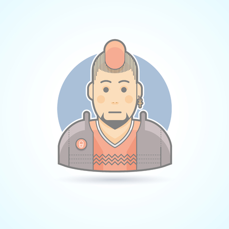 iroquois: Punk music fan, iroquois man icon. Avatar and person illustration. Flat colored outlined style. Illustration