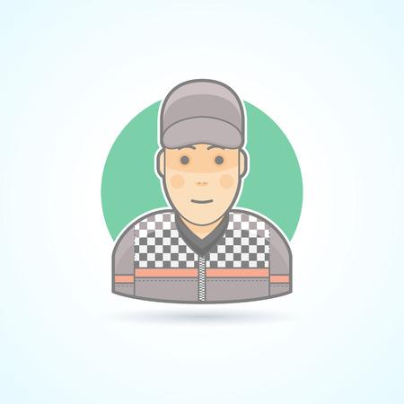 El corredor del coche, bólido icono piloto. Avatar y persona de ilustración. Piso estilo esbozado colores.