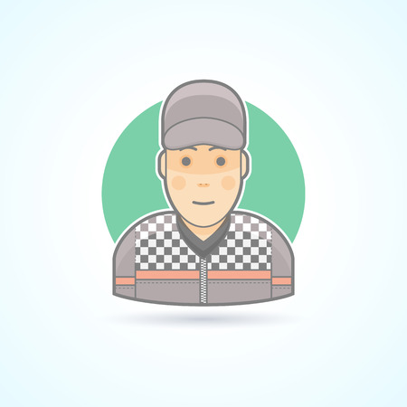 bolide: Car racer, bolide pilot  icon. Avatar and person illustration. Flat colored outlined style.