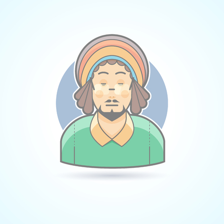human head faces: Rastafarian man, hippie, guy with dreadlocks icon. Avatar and person illustration. Flat colored outlined style.