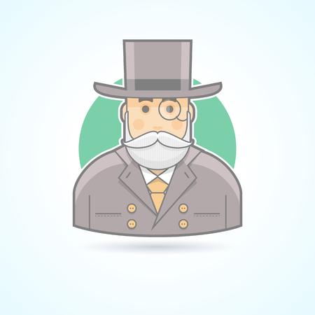 volto uomo: Richman, ricco vecchio, banchiere, icona agente denaro. Avatar persona illustrazione. Piatto colorato in stile delineato.