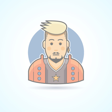 vocalist: Rock music fan, stylish man icon. Avatar and person illustration. Flat colored outlined style.