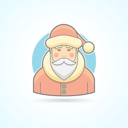 caras de emociones: Santa Claus, icono Jack Frost. Avatar y persona de ilustraci�n. Piso estilo esbozado colores.